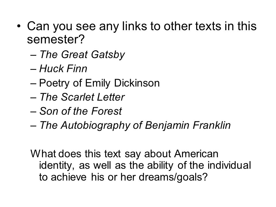 Can you see any links to other texts in this semester