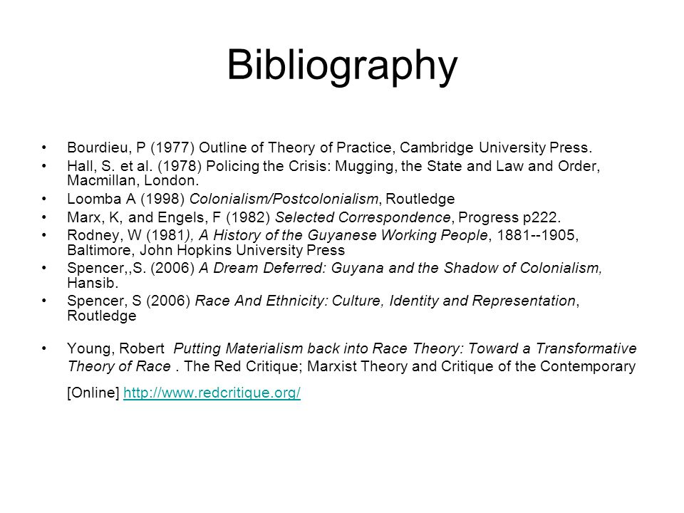Bibliography Bourdieu, P (1977) Outline of Theory of Practice, Cambridge University Press.