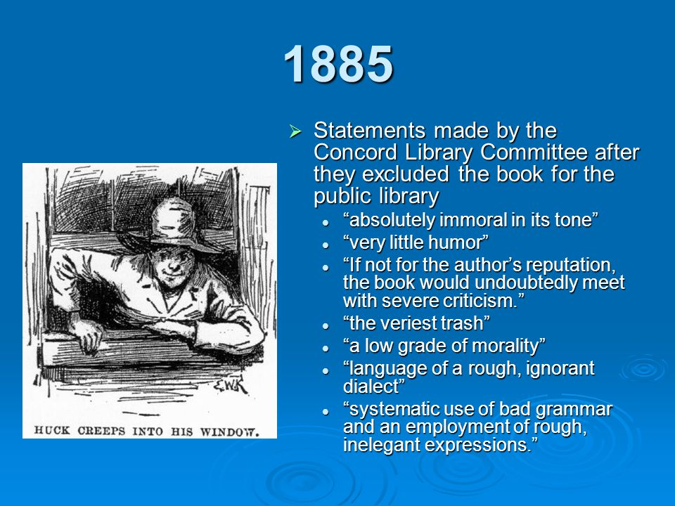 1885 Statements made by the Concord Library Committee after they excluded the book for the public library.
