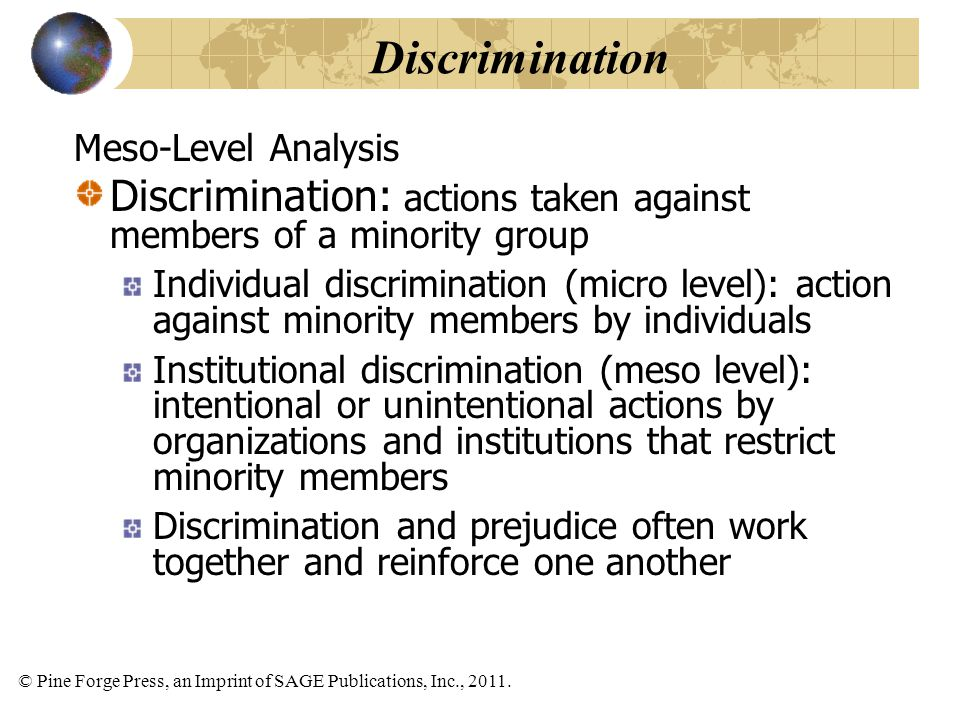 Discrimination Meso-Level Analysis. Discrimination: actions taken against members of a minority group.