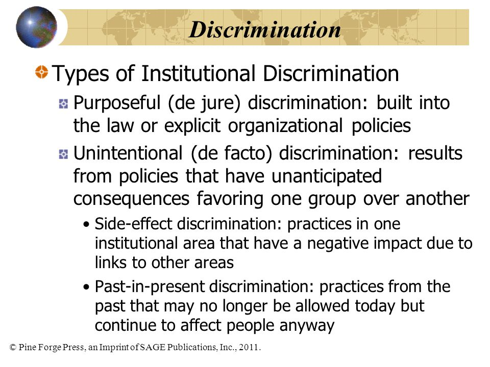 Discrimination Types of Institutional Discrimination