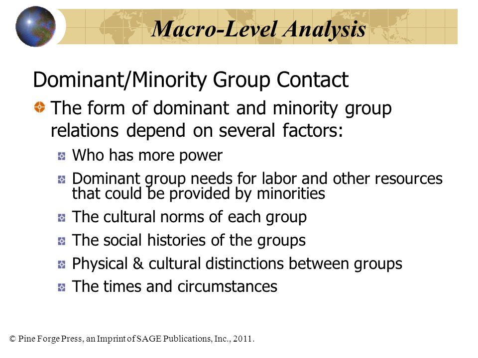 Macro-Level Analysis Dominant/Minority Group Contact
