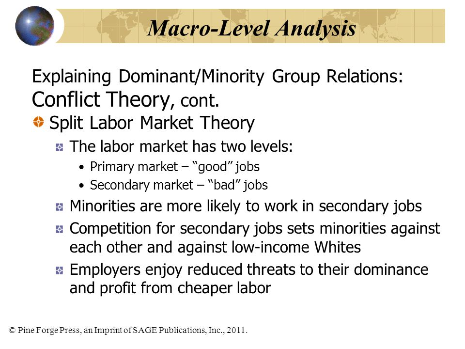 Macro-Level Analysis Conflict Theory, cont.