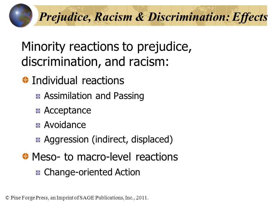 Prejudice, Racism & Discrimination: Effects