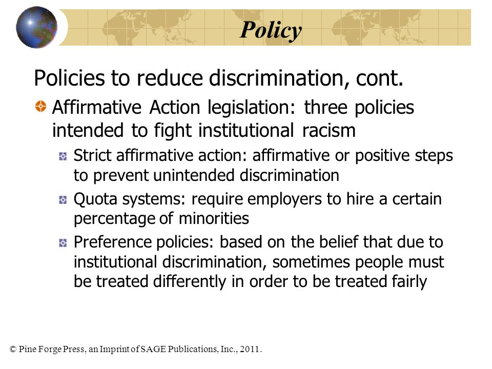 Policy Policies to reduce discrimination, cont.
