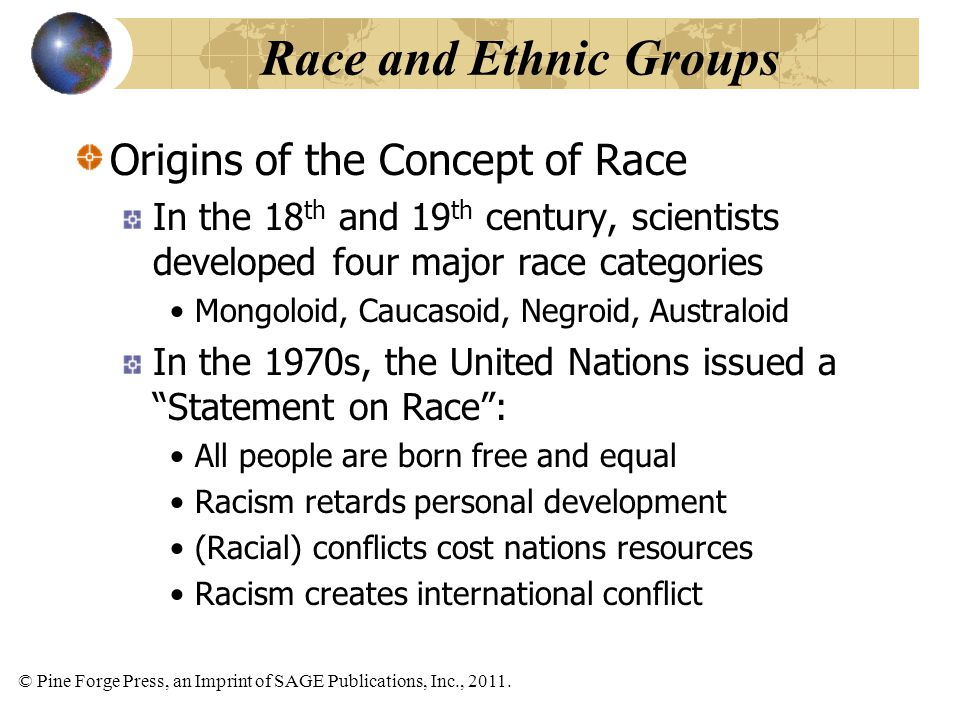 Race and Ethnic Groups Origins of the Concept of Race