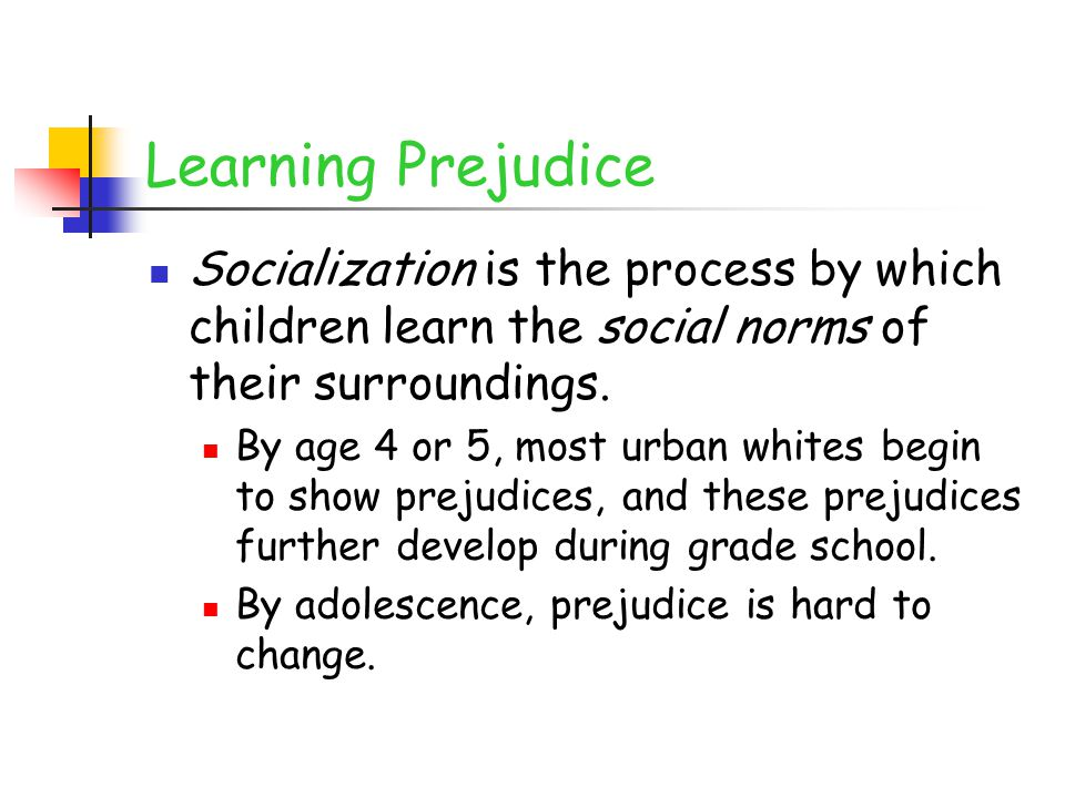 Learning Prejudice Socialization is the process by which children learn the social norms of their surroundings.
