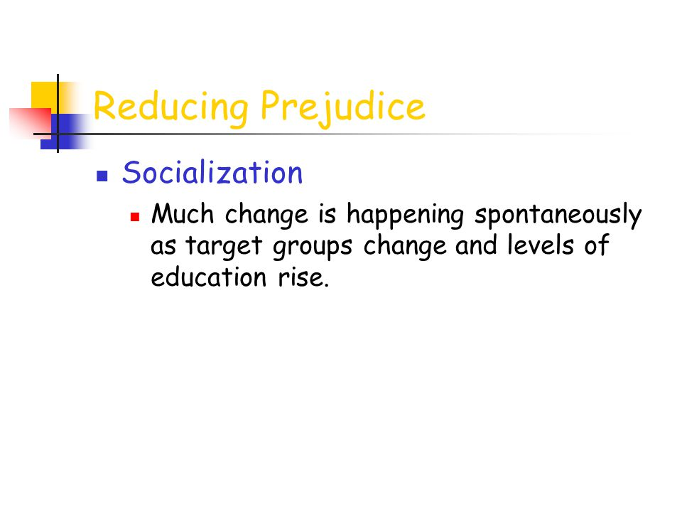 Reducing Prejudice Socialization