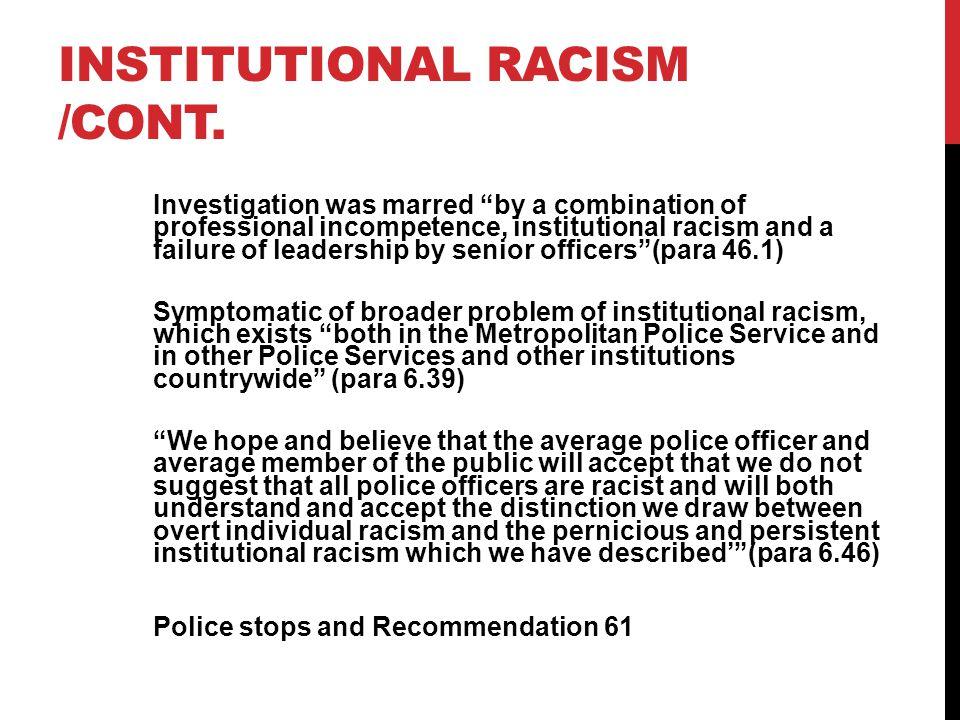 Institutional racism /cont.
