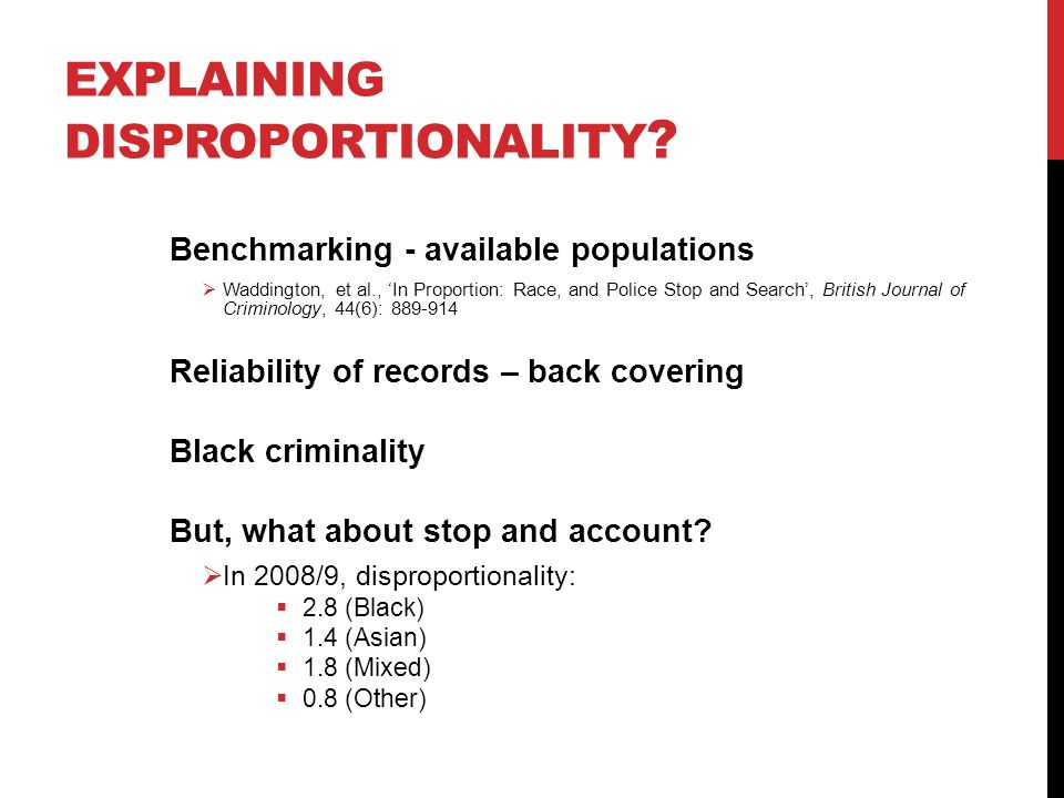 Explaining disproportionality