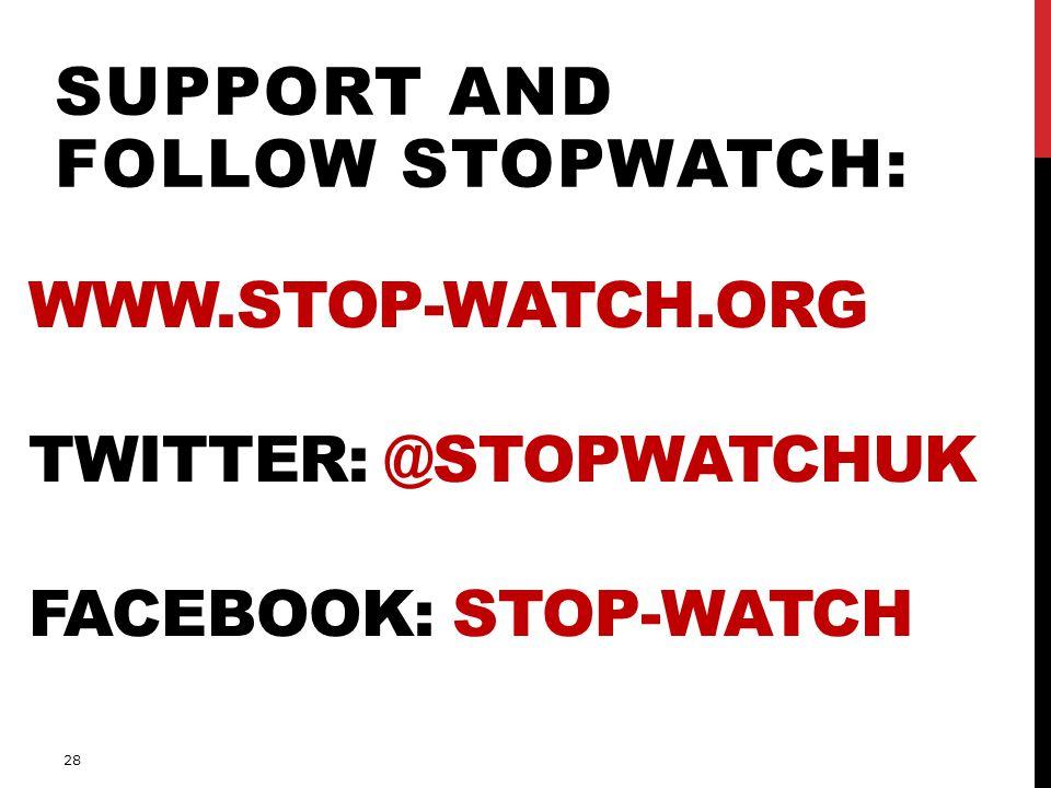 www.stop-watch.org Twitter: @stopwatchUK Facebook: Stop-Watch