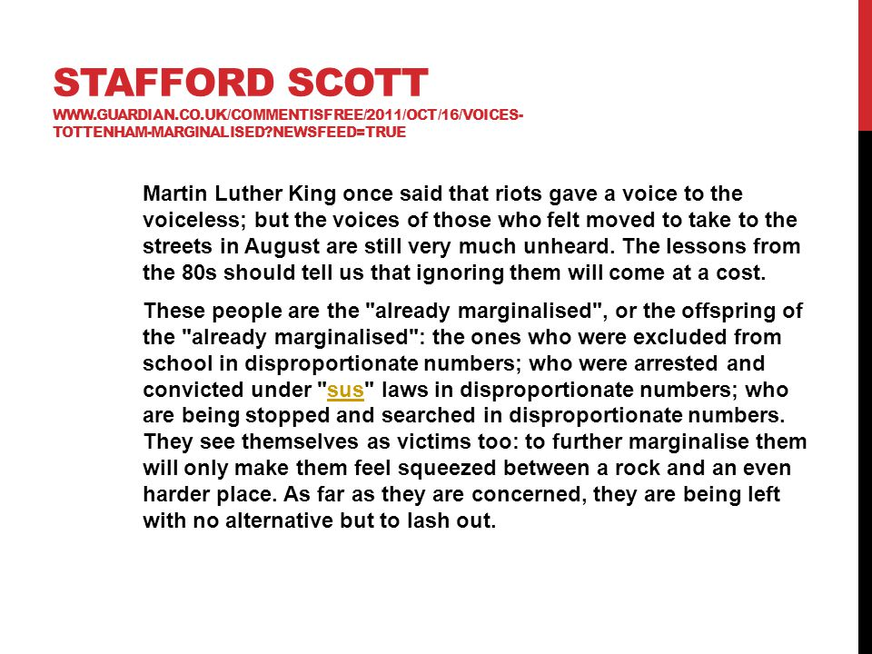 Stafford Scott www. guardian. co