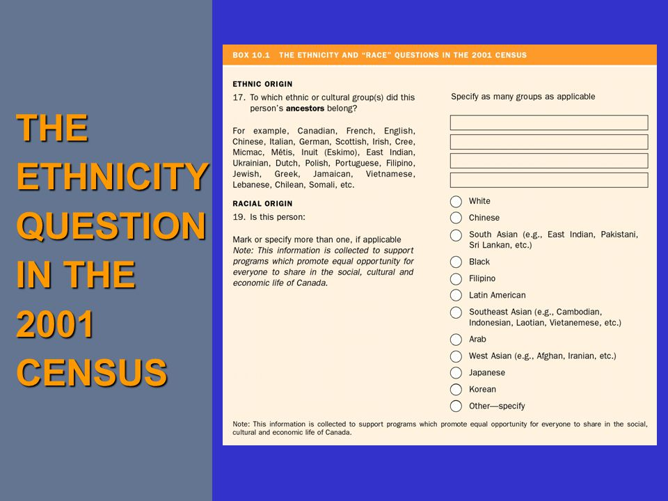 THE ETHNICITY QUESTION IN THE 2001 CENSUS