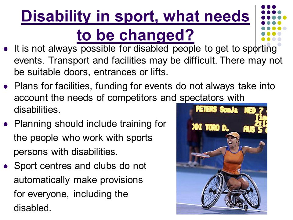 Disability in sport, what needs to be changed