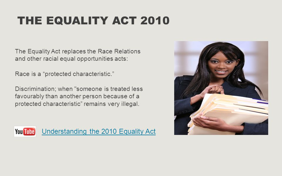 THE EQUALITY ACT 2010 Understanding the 2010 Equality Act
