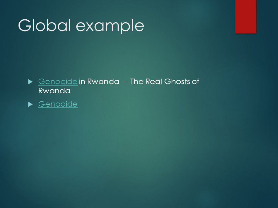 Global example Genocide in Rwanda -- The Real Ghosts of Rwanda