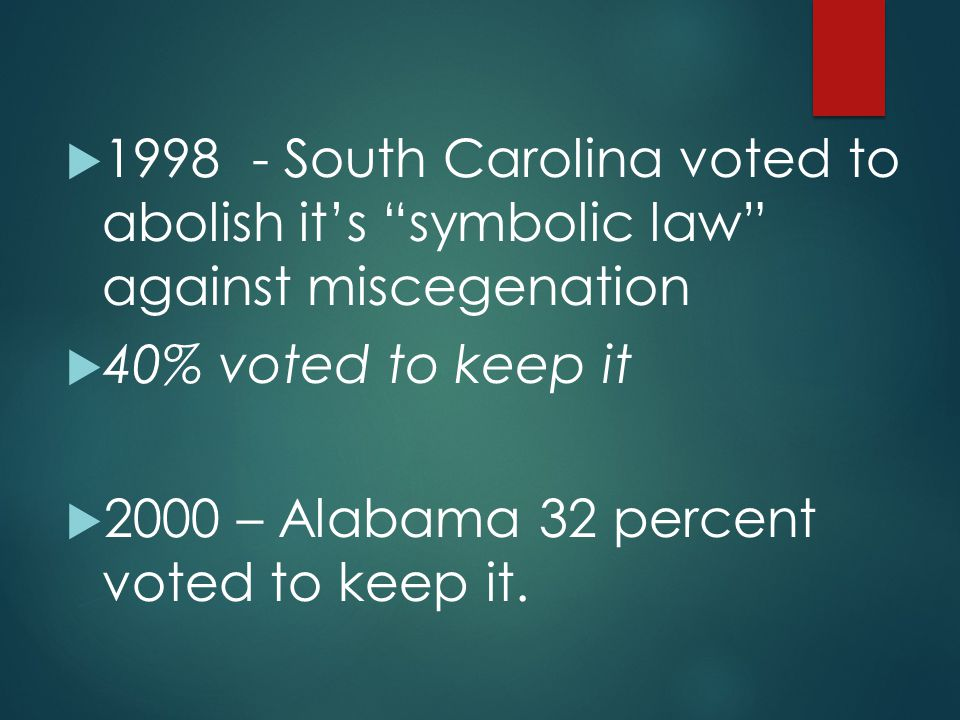 1998 - South Carolina voted to abolish it's symbolic law against miscegenation