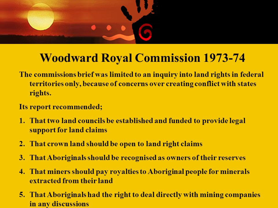Woodward Royal Commission 1973-74