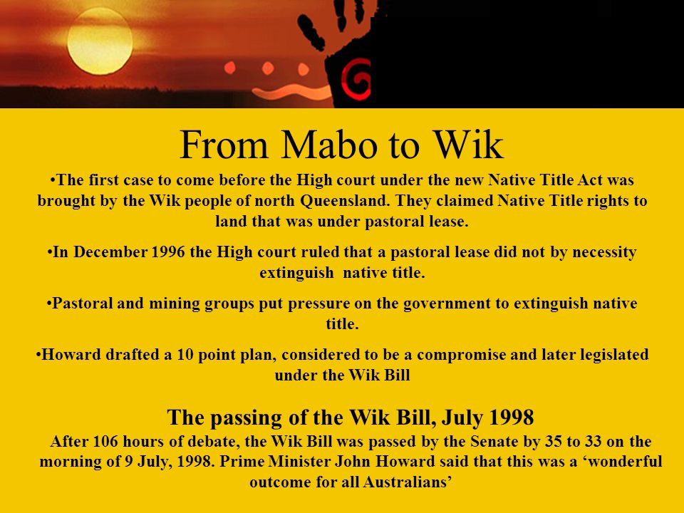 From Mabo to Wik