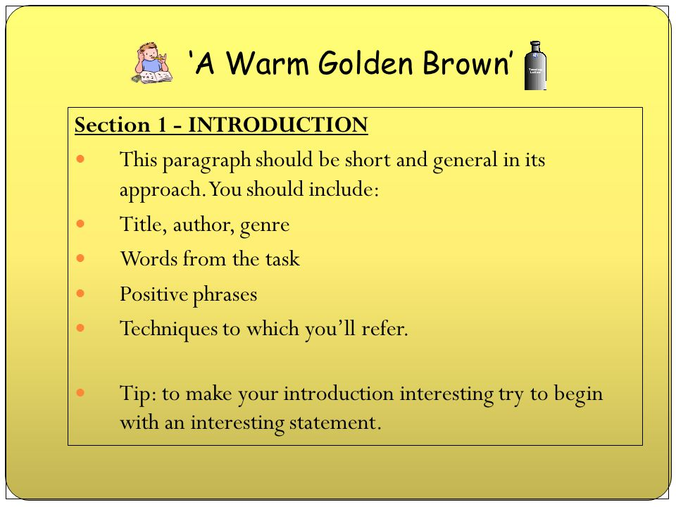 'A Warm Golden Brown' Section 1 - INTRODUCTION