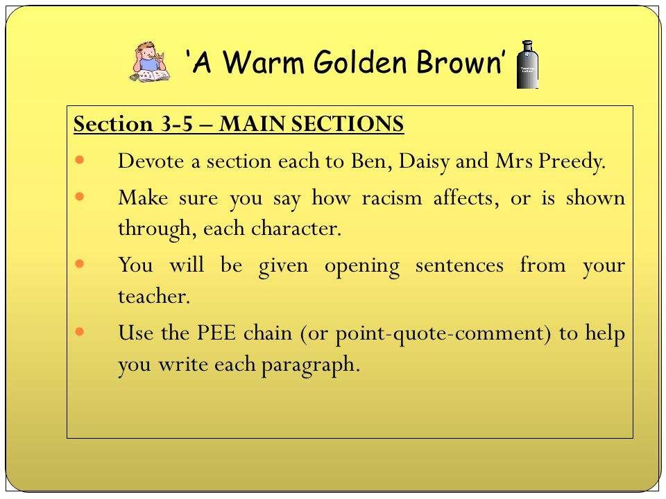 'A Warm Golden Brown' Section 3-5 – MAIN SECTIONS
