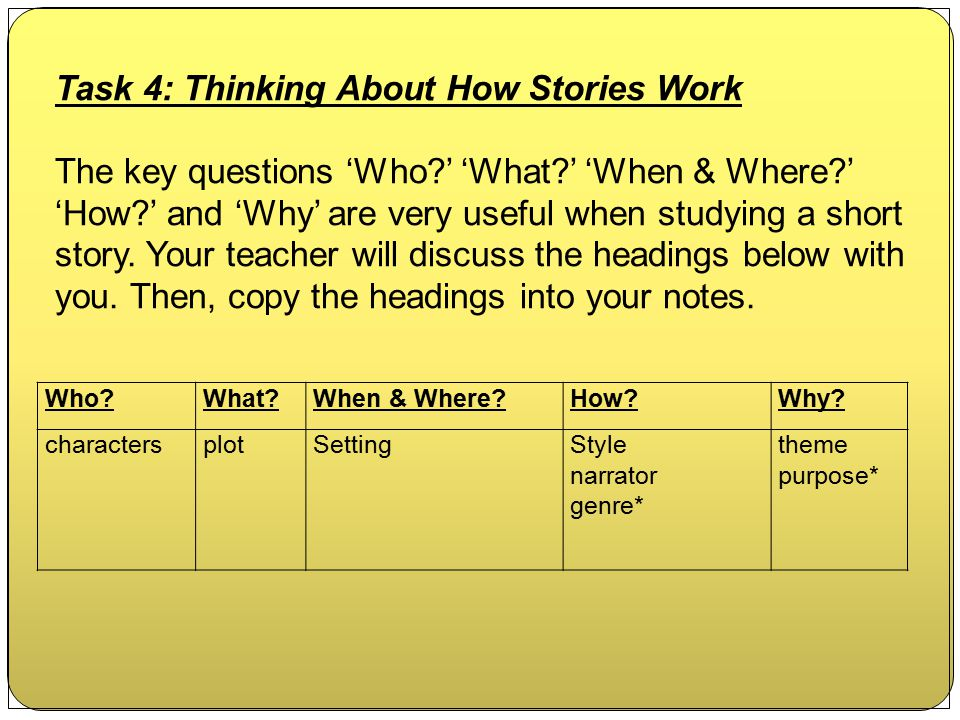 Task 4: Thinking About How Stories Work
