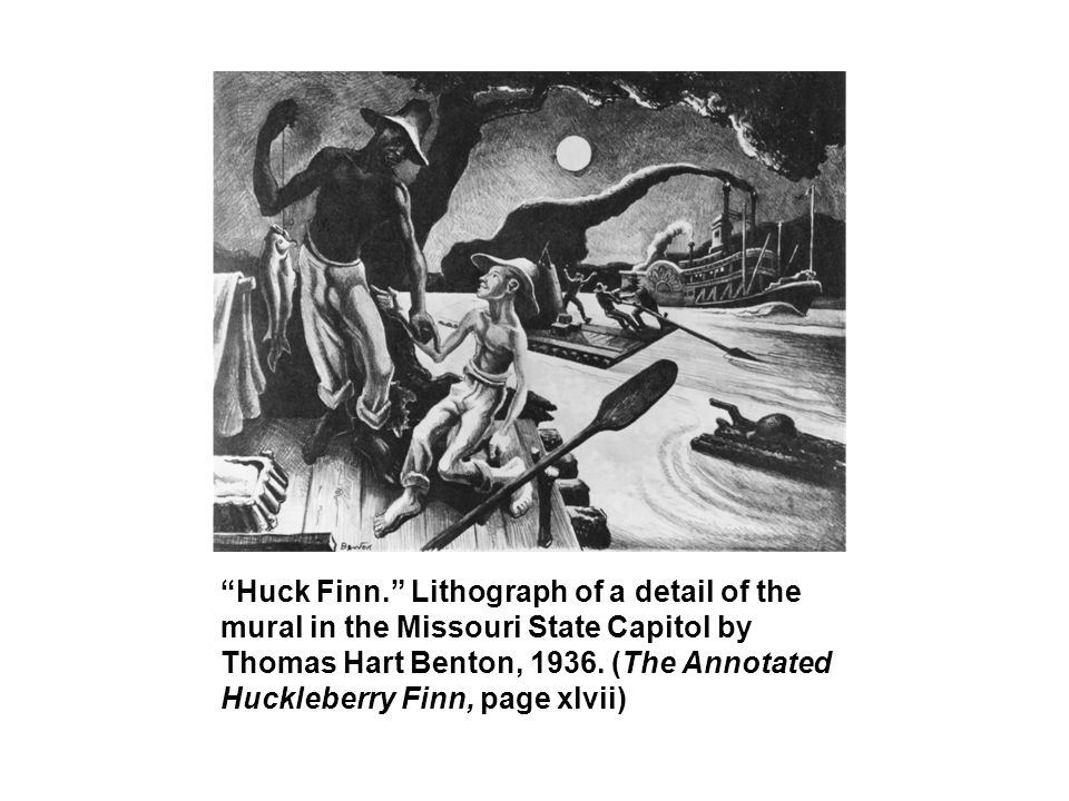 Huck Finn. Lithograph of a detail of the mural in the Missouri State Capitol by Thomas Hart Benton, 1936.