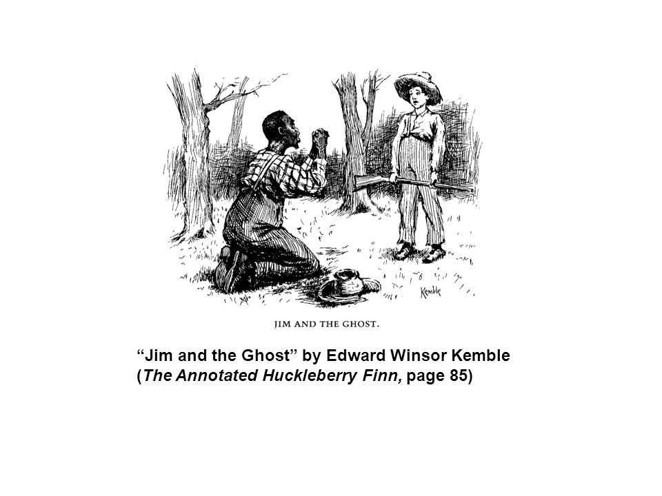 Jim and the Ghost by Edward Winsor Kemble (The Annotated Huckleberry Finn, page 85)