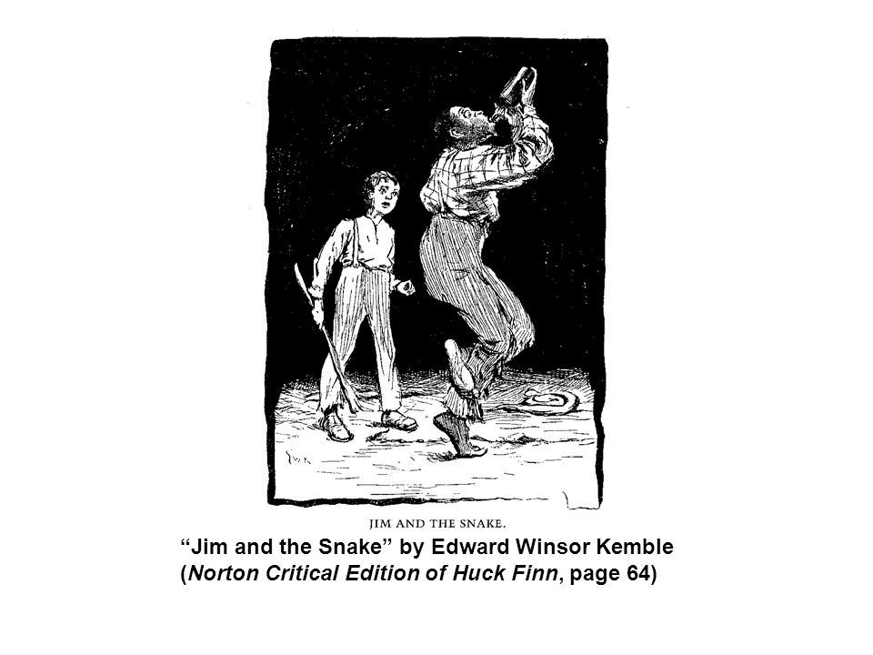 Jim and the Snake by Edward Winsor Kemble (Norton Critical Edition of Huck Finn, page 64)