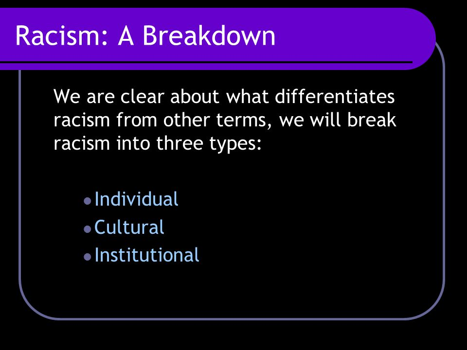 Racism: A Breakdown We are clear about what differentiates racism from other terms, we will break racism into three types: