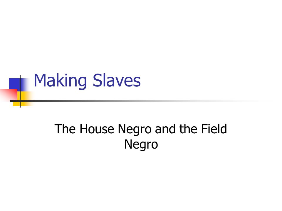 The House Negro and the Field Negro