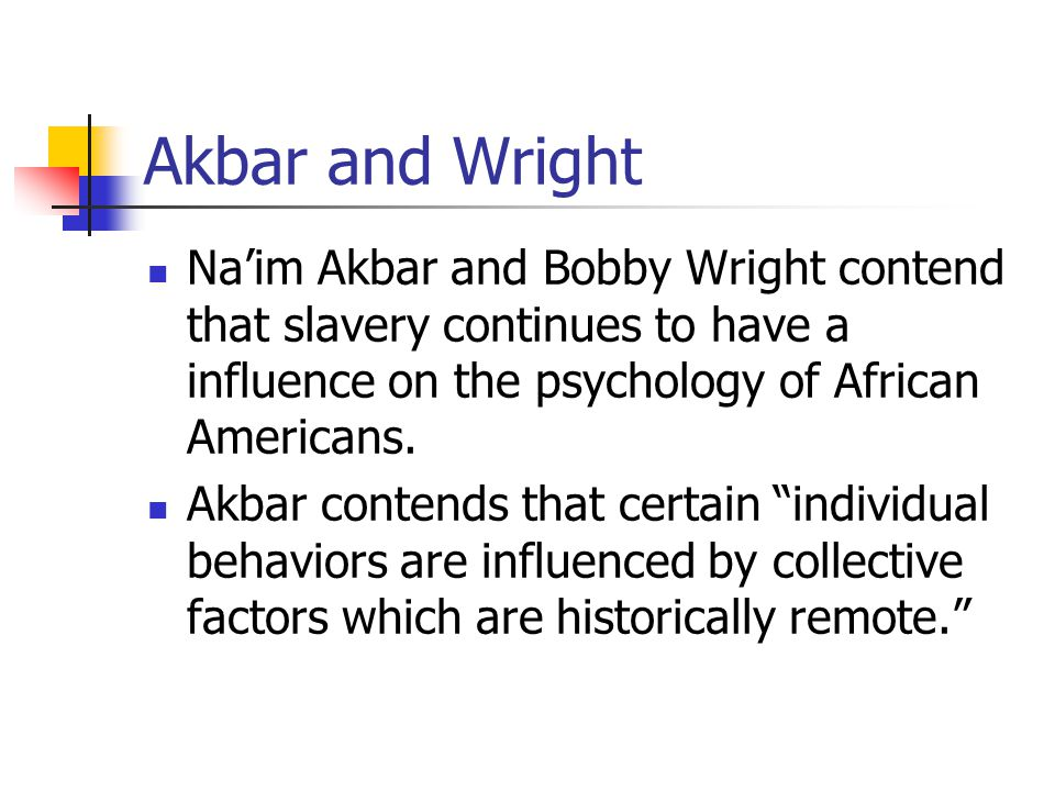 Akbar and Wright Na'im Akbar and Bobby Wright contend that slavery continues to have a influence on the psychology of African Americans.