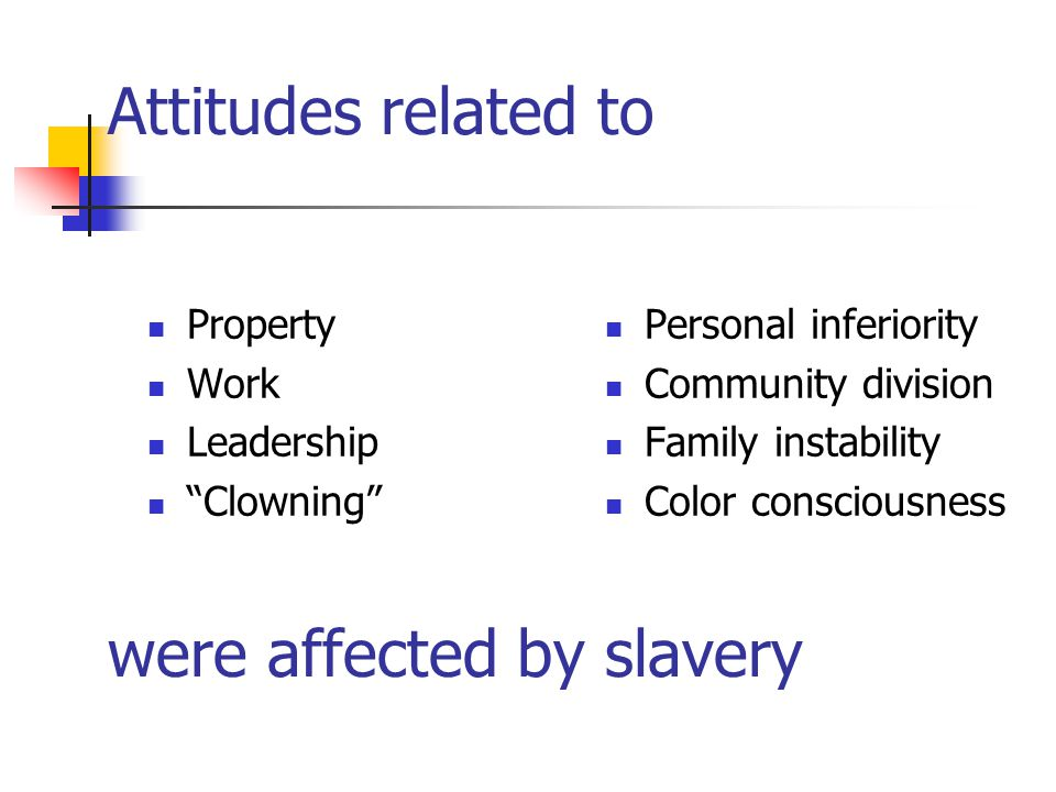 Attitudes related to were affected by slavery