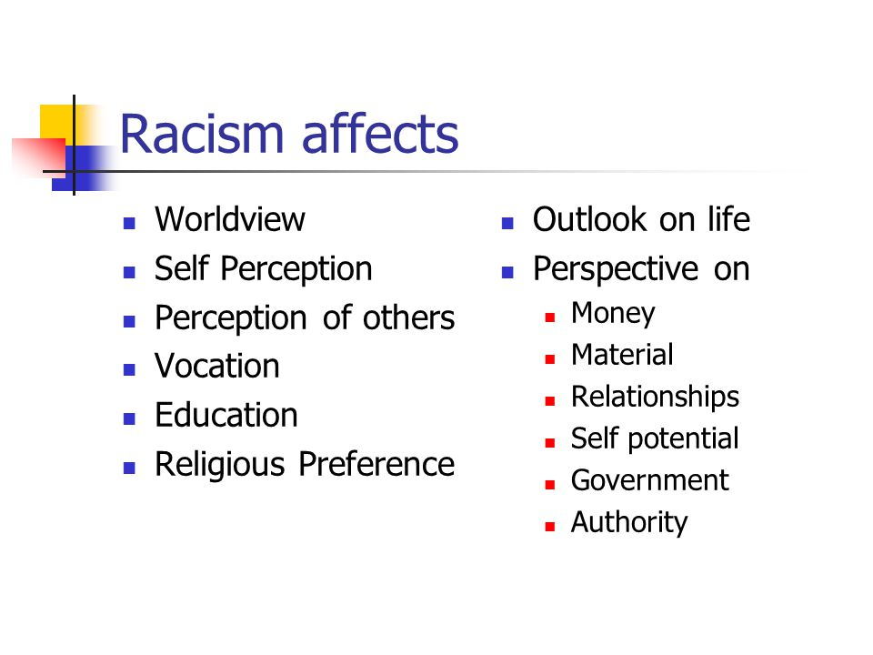 Racism affects Worldview Self Perception Perception of others Vocation