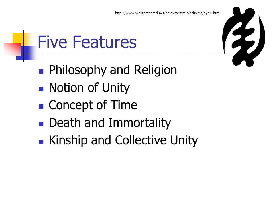 Five Features Philosophy and Religion Notion of Unity Concept of Time