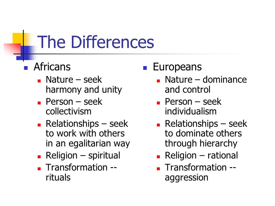 The Differences Africans Europeans Nature – seek harmony and unity