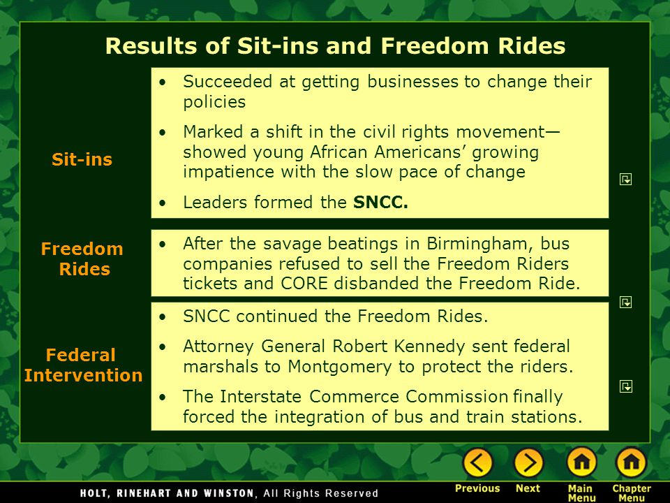 Results of Sit-ins and Freedom Rides