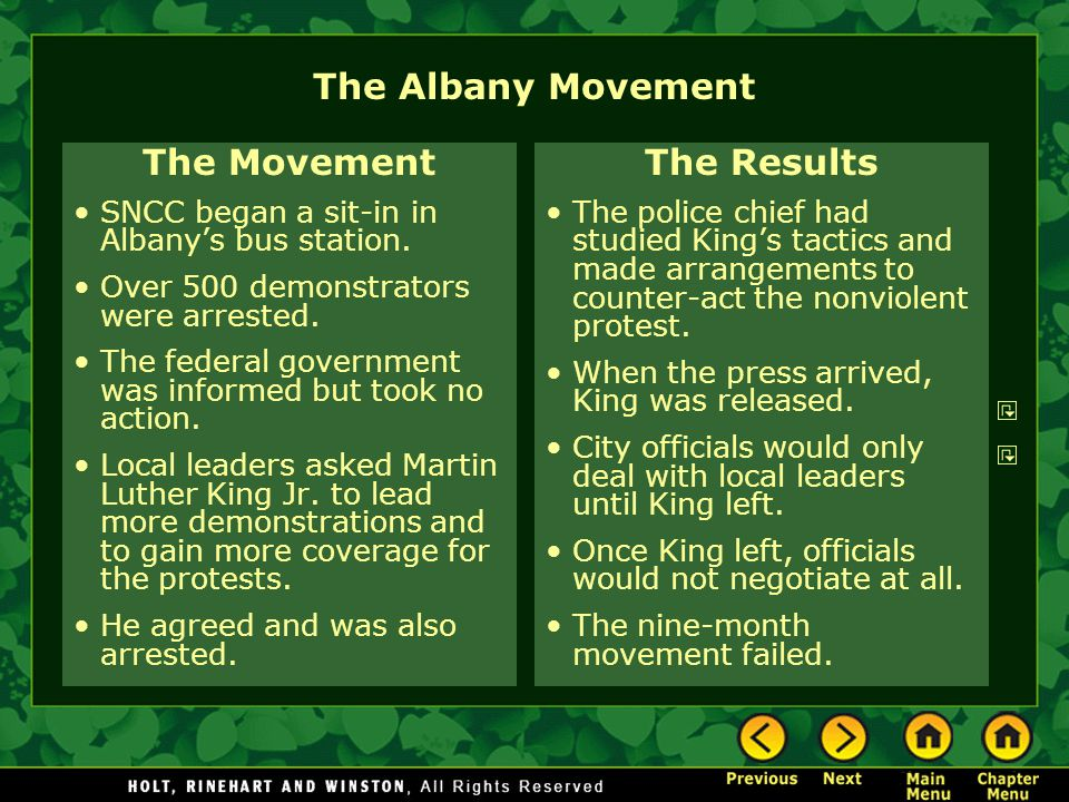 The Albany Movement The Movement The Results