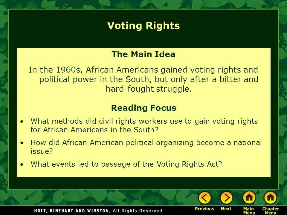 Voting Rights The Main Idea