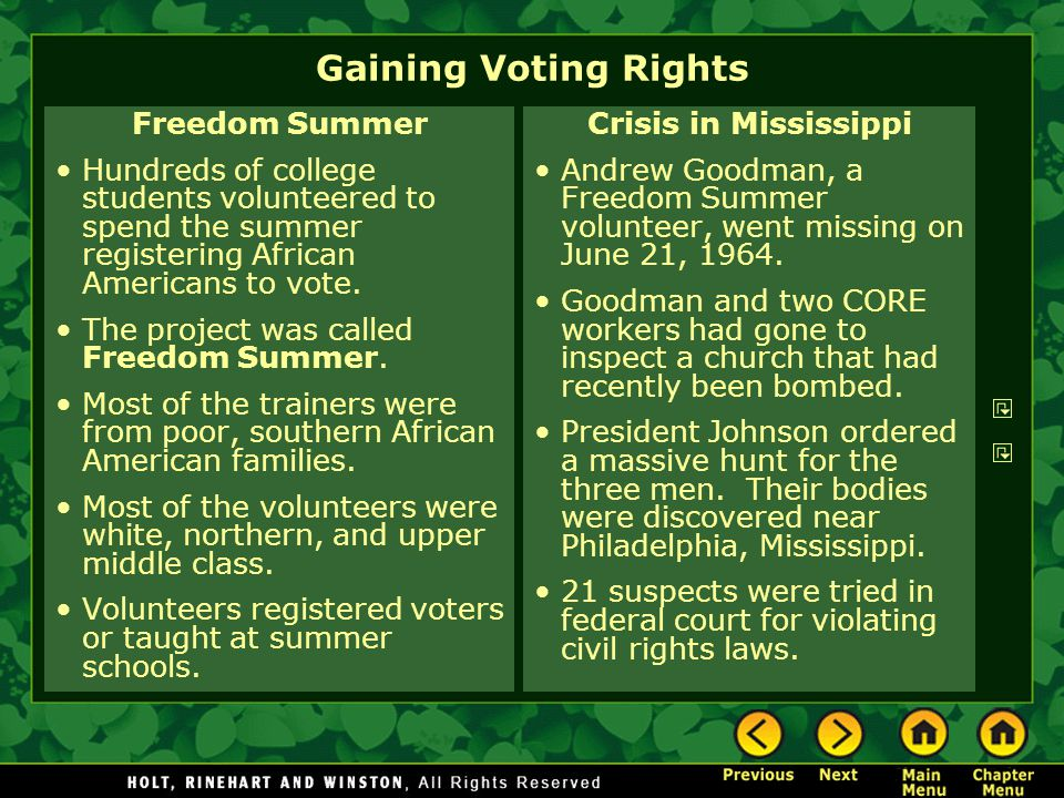 Gaining Voting Rights Freedom Summer