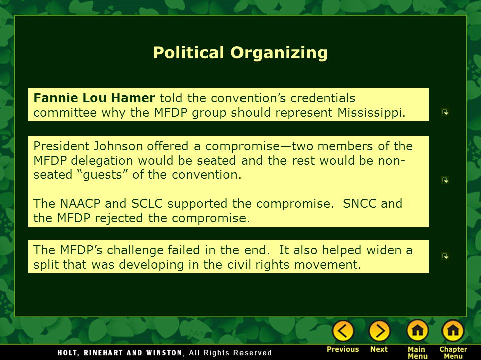 Political Organizing Fannie Lou Hamer told the convention's credentials committee why the MFDP group should represent Mississippi.