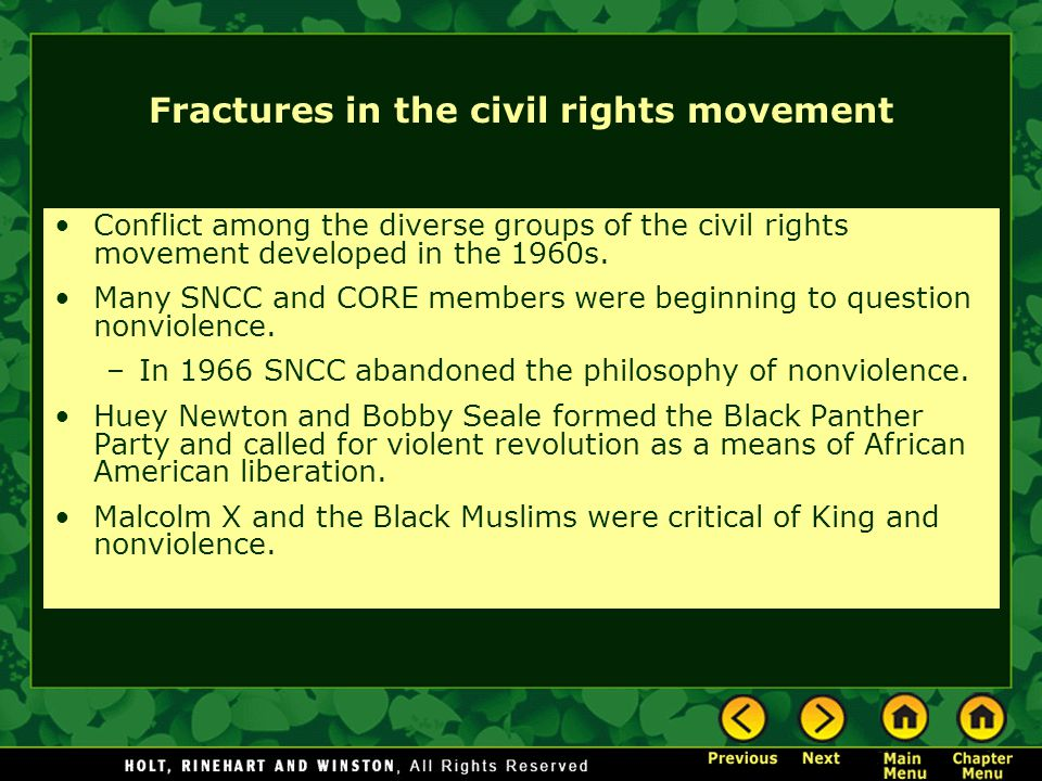 Fractures in the civil rights movement
