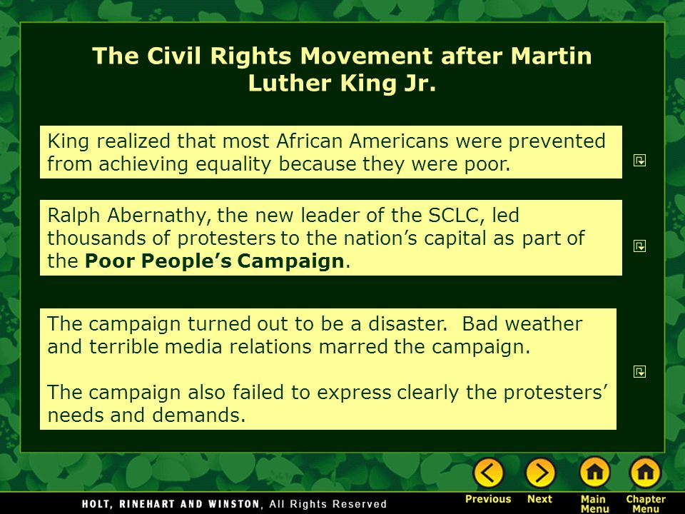 The Civil Rights Movement after Martin Luther King Jr.