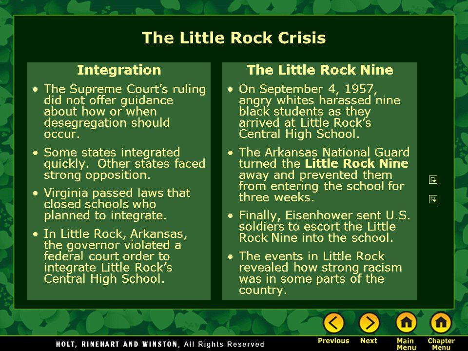 The Little Rock Crisis Integration The Little Rock Nine