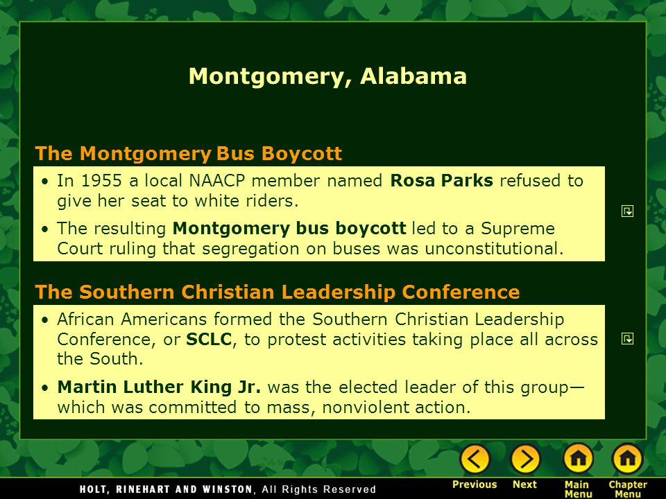 Montgomery, Alabama The Montgomery Bus Boycott