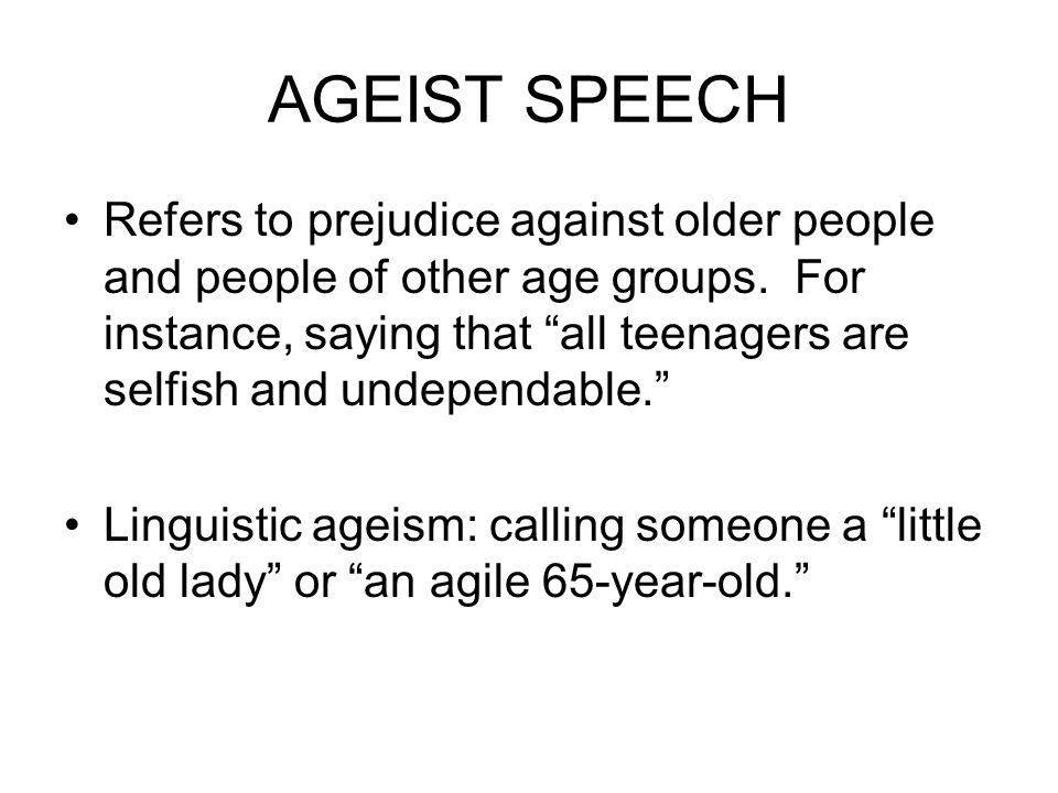 AGEIST SPEECH