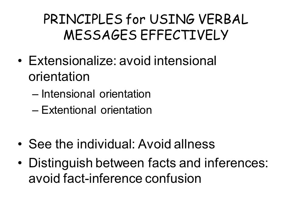 PRINCIPLES for USING VERBAL MESSAGES EFFECTIVELY