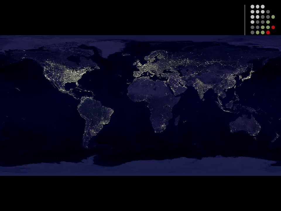 This slide shows a composite satellite photograph of the world taken at night, illustrating who has electricity and who does not.