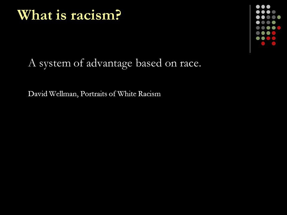 What is racism A system of advantage based on race.