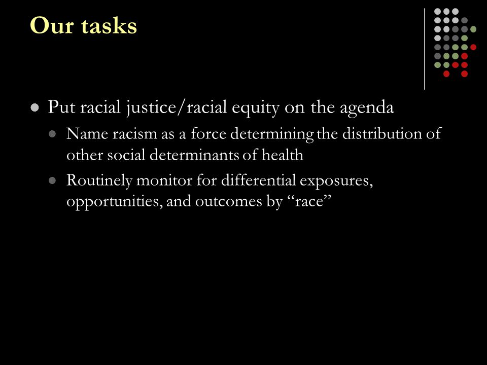Our tasks Put racial justice/racial equity on the agenda